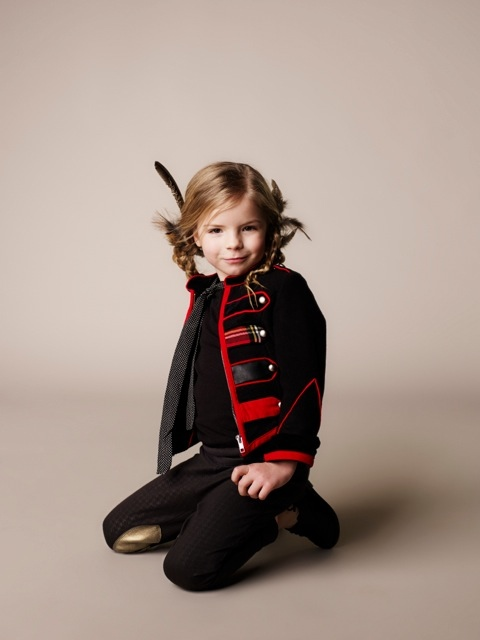 Sweet-band-jacket-and-gold-lame-patch-trousers-for-winter-parties-by-British-company-Deluna-Kids