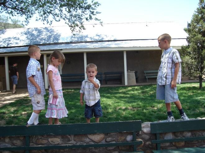 the kids outside